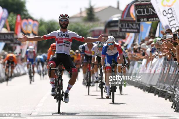 Arrival / Fernando Gaviria Rendon of Colombia and UAE Team Emirates / Celebration / Arnaud Demare of France and Team Groupama-FDJ / Sam Bennett of...
