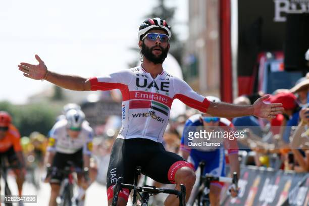 Arrival / Fernando Gaviria Rendon of Colombia and UAE Team Emirates / Celebration /during the 42nd Vuelta a Burgos 2020, Stage 2 a 168km stage from...