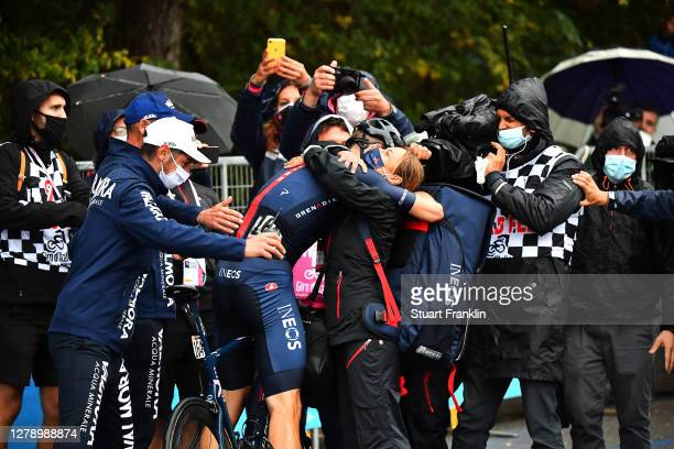 Arrival / Filippo Ganna of Italy and Team INEOS Grenadiers / Celebration / Staff / Soigneur / during the 103rd Giro d'Italia 2020, Stage 5 a 225km...