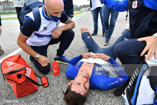 Arrival / Filippo Ganna of Italy / Celebration / during the 93rd UCI Road World Championships 2020 Men Elite Individual Time Trial a 317km race from...
