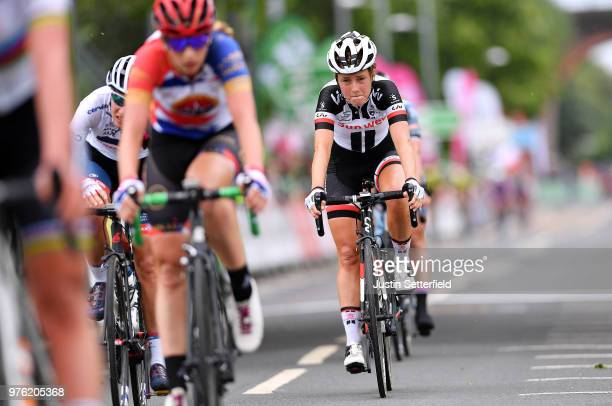 Arrival / Floortje Mackaij of The Netherlands and Team Sunweb / during the 5th OVO Energy Women's Tour 2018 Stage 4 a 130km stage from Evesham to...