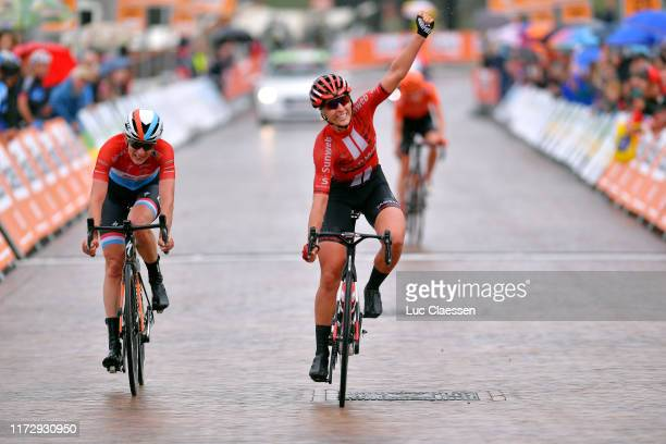 Arrival / Franziska Koch of Germany and Team Sunweb / Celebration / Christine Majerus of Luxembourg and Boels Dolmans Cycling Team / Riejanne Markus...