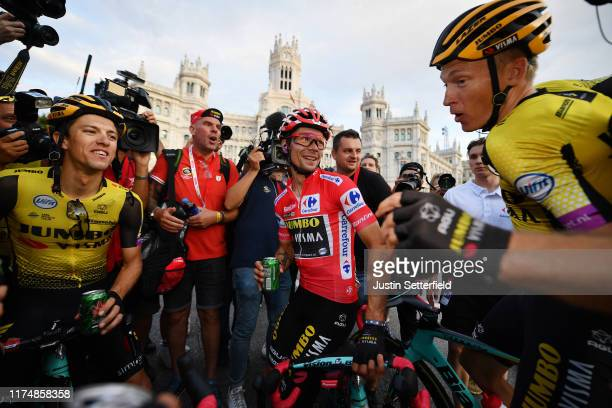 Arrival / George Bennett of New Zealand and Team Jumbo-Visma / Primoz Roglic of Slovenia and Team Jumbo-Visma Red Leader Jersey / Neilson Powless of...