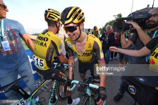 Arrival / George Bennett of New Zealand and Team Jumbo-Visma / Primoz Roglic of Slovenia and Team Jumbo-Visma / Celebration / during the 102nd Giro...