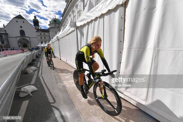 Arrival / Georgia Williams of New Zealand and Team MitcheltonScott / during the UCI Team Time Trial Women a 545km race from Otztal to Innsbruck at...