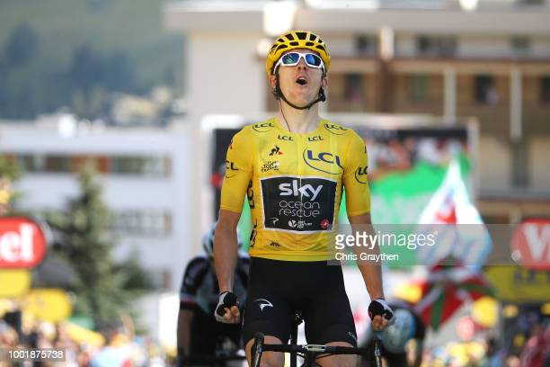 Arrival / Geraint Thomas of Great Britain and Team Sky Yellow Leader Jersey / Celebration / during the 105th Tour de France 2018 Stage 12 a 1755km...