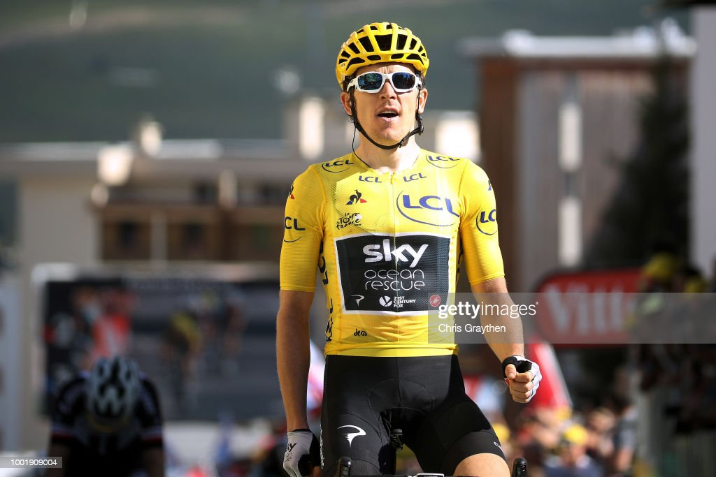 Arrival / Geraint Thomas of Great Britain and Team Sky Yellow Leader Jersey / Celebration / during the 105th Tour de France 2018, Stage 12 a 175,5km stage from Bourg-Saint-Maurice Les Arcs to Alpe d'Huez 1850m / TDF / on July 19, 2018 in Alpe d'Huez, France.