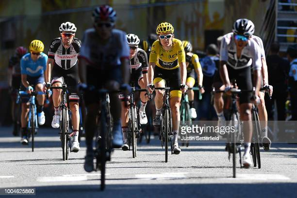 Arrival / Geraint Thomas of Great Britain and Team Sky Yellow Leader Jersey / during the 105th Tour de France 2018, Stage 16 a 218km stage from...
