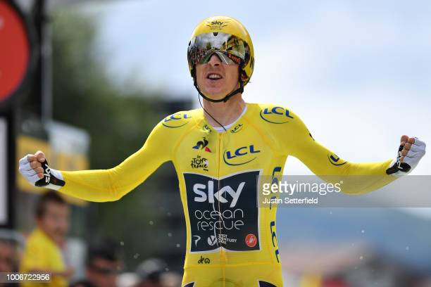 Arrival / Geraint Thomas of Great Britain and Team Sky Yellow Leader Jersey / Celebration / during the 105th Tour de France 2018 Stage 20 a 31km...