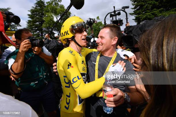 Arrival / Geraint Thomas of Great Britain and Team Sky Yellow Leader Jersey / Celebration / during the 105th Tour de France 2018, Stage 20 a 31km...