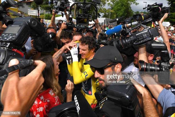 Arrival / Geraint Thomas of Great Britain and Team Sky Yellow Leader Jersey / Sarah Elen Thomas of Great Britain Wife / Celebration / Press Media /...