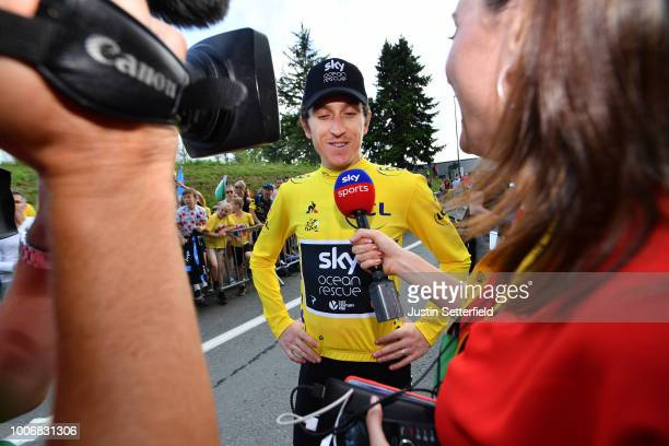 Arrival / Geraint Thomas of Great Britain and Team Sky Yellow Leader Jersey / Celebration / Press Media / during the 105th Tour de France 2018 Stage...