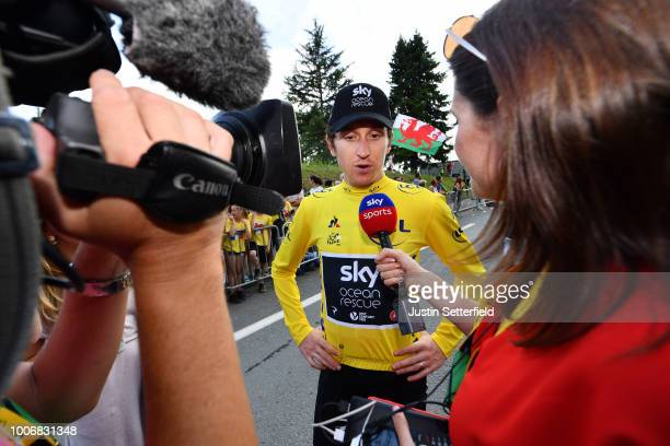 Arrival / Geraint Thomas of Great Britain and Team Sky Yellow Leader Jersey / Celebration / Press Media / during the 105th Tour de France 2018, Stage...