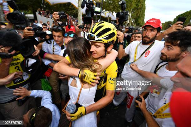 Arrival / Geraint Thomas of Great Britain and Team Sky Yellow Leader Jersey / Sarah Elen Thomas of Great Britain Wife / Celebration / during the...
