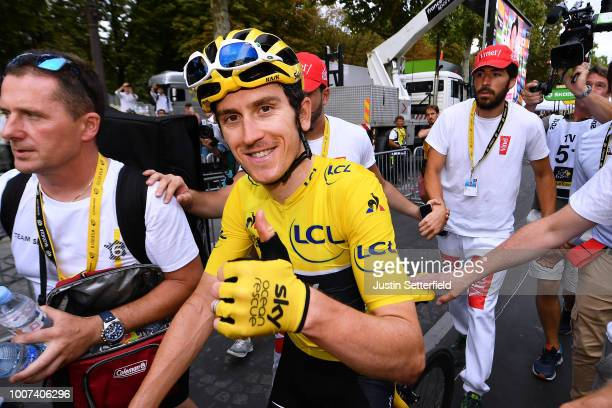 Arrival / Geraint Thomas of Great Britain and Team Sky Yellow Leader Jersey / Celebration / during the 105th Tour de France 2018, Stage 21 a 116km...