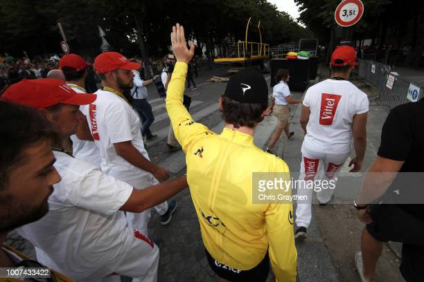 Arrival / Geraint Thomas of Great Britain and Team Sky Yellow Leader Jersey / Celebration / Wales flag / during the 105th Tour de France 2018, Stage...