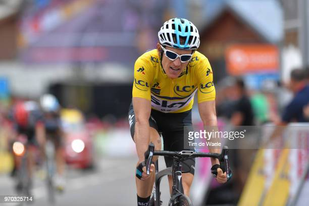 Arrival / Geraint Thomas of Great Britain and Team Sky Yellow Leader Jersey / during the 70th Criterium du Dauphine 2018, Stage 6 a 110km stage from...