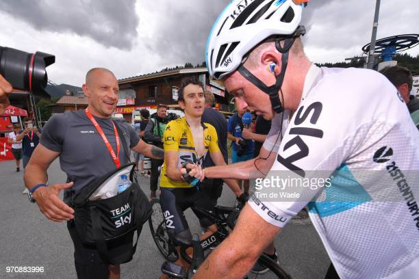 Arrival / Geraint Thomas of Great Britain and Team Sky Yellow Leader Jersey / Tao Geoghegan Hart of Great Britain and Team Sky / Celebration / Marek...