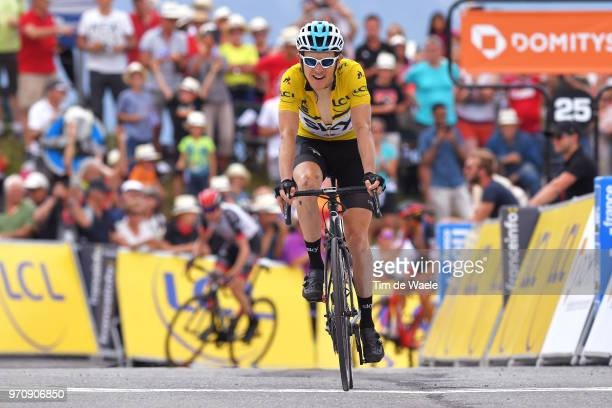 Arrival / Geraint Thomas of Great Britain and Team Sky Yellow Leader Jersey / Celebration / during the 70th Criterium du Dauphine 2018, Stage 7 a...