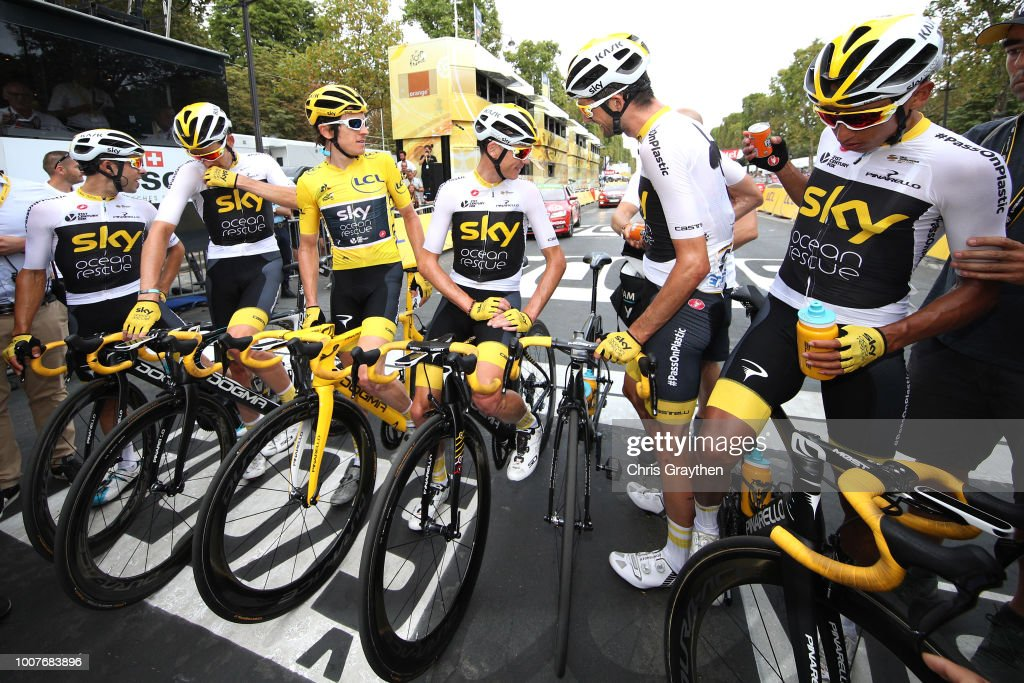 Arrival / Geraint Thomas of Great Britain Yellow Leader Jersey / Christopher Froome of Great Britain / Egan Arley Bernal of Colombia / Jonathan Castroviejo of Spain / Michal Kwiatkowski of Poland / Wout Poels of The Netherlands / Luke Rowe of Great Britain / Team Sky of Great Britain / Celebration / during the 105th Tour de France 2018, Stage 21 a 116km stage from Houilles to Paris Champs-Elysees / TDF / on July 29, 2018 in Paris, France.
