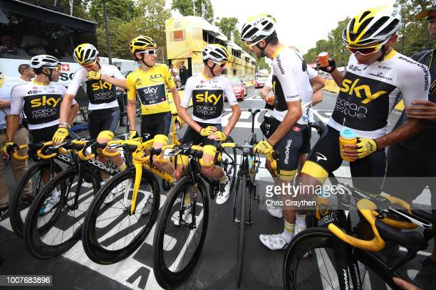 Arrival / Geraint Thomas of Great Britain Yellow Leader Jersey / Christopher Froome of Great Britain / Egan Arley Bernal of Colombia / Jonathan...