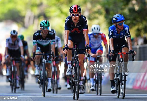 Arrival / Geraint Thomas of The United Kingdom and Team INEOS Grenadiers / Enrico Gasparotto of Switzerland and Team NTT Pro Cycling / during the...