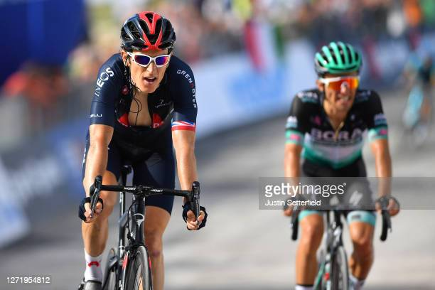 Arrival / Geraint Thomas of The United Kingdom and Team INEOS Grenadiers / Rafal Majka of Poland and Team Bora-Hansgrohe / during the 55th...