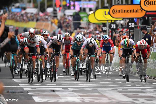 Arrival / Giacomo Nizzolo of Italy and NTT Pro Cycling Team / Alexander Kristoff of Norway and UAE Team Emirates / Celebration / Cees Bol of The...