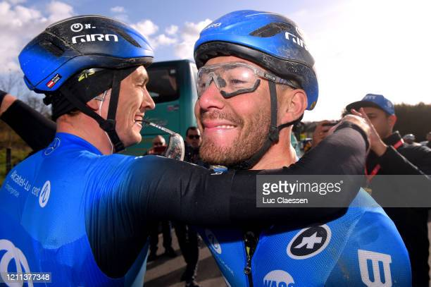 Arrival / Giacomo Nizzolo of Italy and NTT Pro Cycling Team / Michael Gogl of Austria and NTT Pro Cycling Team / Celebration / during the 78th Paris...