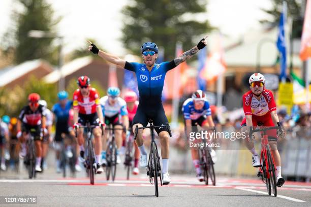 Arrival / Giacomo Nizzolo of Italy and Team NTT Pro Cycling / Celebration / Simone Consonni of Italy Team Cofidis Solutions Credits / during the 22nd...