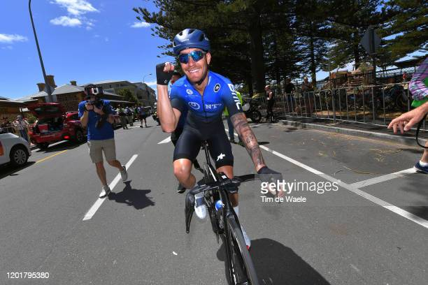 Arrival / Giacomo Nizzolo of Italy and Team NTT Pro Cycling / Celebration / during the 22nd Santos Tour Down Under 2020, Stage 5 a 149,1km stage from...