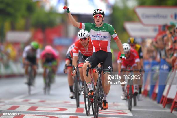 Arrival / Giacomo Nizzolo of Italy and Team Trek Segafredo / Elia Viviani of Italy and Team Quick-Step Floors / Celebration / during the 73rd Tour of...