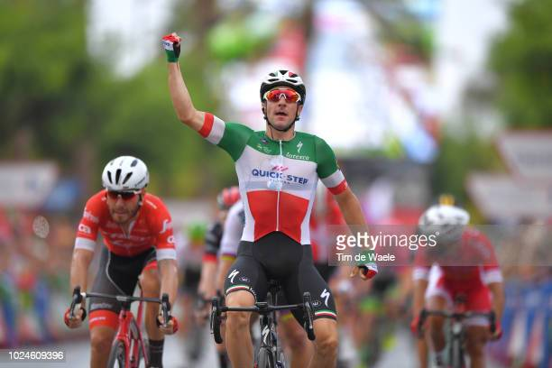 Arrival / Giacomo Nizzolo of Italy and Team Trek Segafredo / Elia Viviani of Italy and Team Quick-Step Floors / Celebration / during the 73rd Tour of...