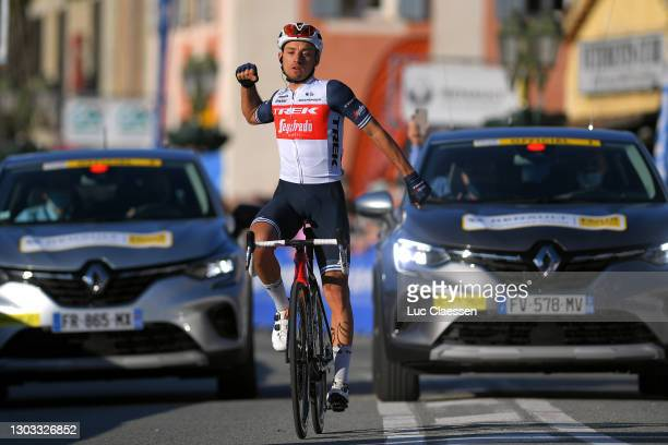Arrival / Gianluca Brambilla of Italy and Team Trek - Segafredo celebrate during the 53rd Tour Des Alpes Maritimes Et Du Var, Stage 3 a 134,7km stage...