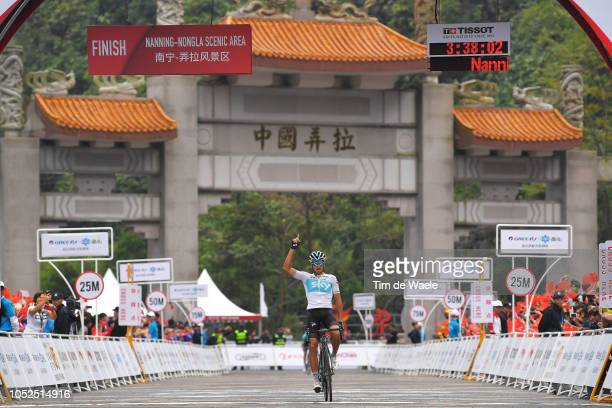 Arrival / Gianni Moscon of Italy and Team Sky / Celebration / Landscape / during the 2nd Tour of Guangxi 2018 Stage 4 a 1522km stage from Nanning to...