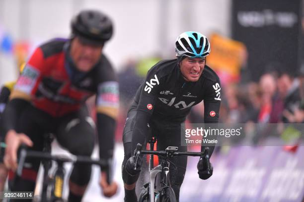 Arrival / Gianni Moscon of Italy and Team Sky / during the 73rd Dwars door Vlaanderen 2018 a 1801km race from Roeselare to Waregem on March 28 2018...