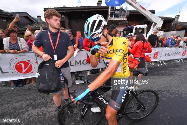 Arrival / Gianni Moscon of Italy and Team Sky Yellow Leader Jersey /Disappointment / Soigneur / during the 70th Criterium du Dauphine 2018 Stage 5 a...