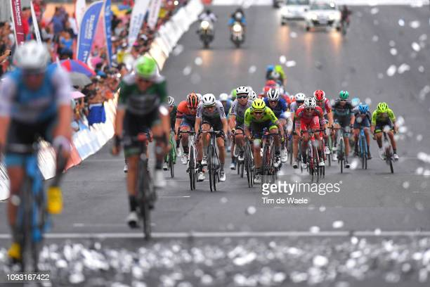 Arrival / Gino Mader of Switzerland and Team Dimension Data / Mark Cavendish of Great Britain and Team Dimension Data / Alvaro Hodeg of Colombia and...