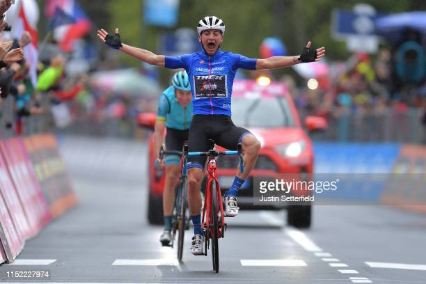 Arrival / Giulio Ciccone of Italy and Team Trek Segafredo Blue Mountain Jersey Celebration / Jan Hirt of Czech Republic and Astana Pro Team / during...