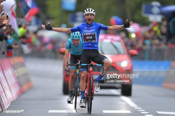 Arrival / Giulio Ciccone of Italy and Team Trek - Segafredo Blue Mountain Jersey Celebration / Jan Hirt of Czech Republic and Astana Pro Team /...