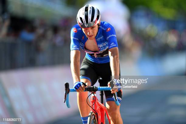 Arrival / Giulio Ciccone of Italy and Team Trek Segafredo Blue Mountain Jersey / during the 102nd Giro d'Italia 2019 Stage 20 a 194km stage from...