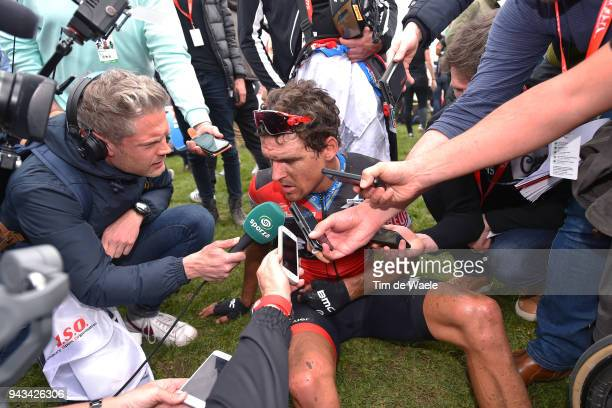 Arrival / Greg Van Avermaet of Belgium and BMC Racing Team / Disappointment / Interiview / Press / during the 116th Paris to Roubaix 2018 a 257km...