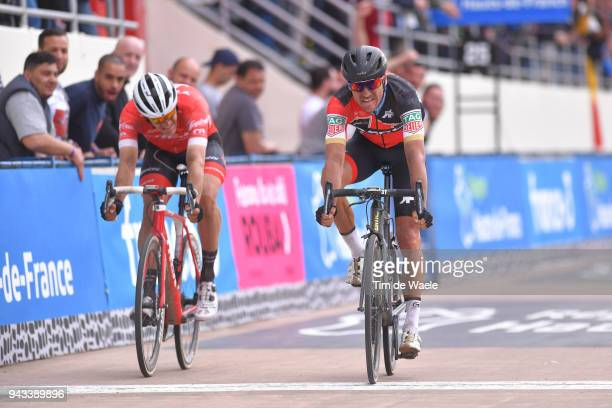 Arrival / Greg Van Avermaet of Belgium and BMC Racing Team / Jasper Stuyven of Belgium and Team Trek Segafredo / during the 116th Paris Roubaix 2018...