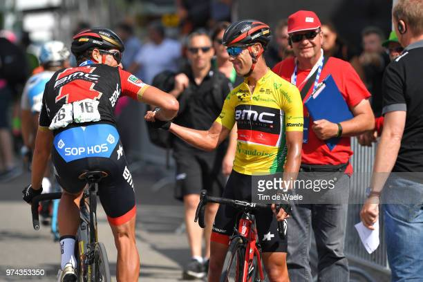 Arrival / Greg Van Avermaet of Belgium and BMC Racing Team / Richie Porte of Australia and BMC Racing Team Yellow Leader Jersey / Celebration /...