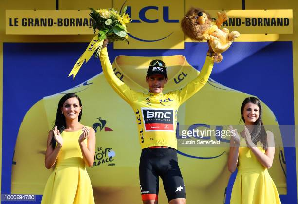 Arrival / Greg Van Avermaet of Belgium and BMC Racing Team Yellow Leader Jersey / Celebration / during the 105th Tour de France 2018 / Stage 10 a...
