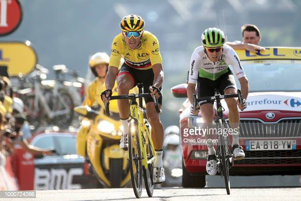 Arrival / Greg Van Avermaet of Belgium and BMC Racing Team Yellow Leader Jersey during the 105th Tour de France 2018 / Stage 10 a 158,5km stage from...