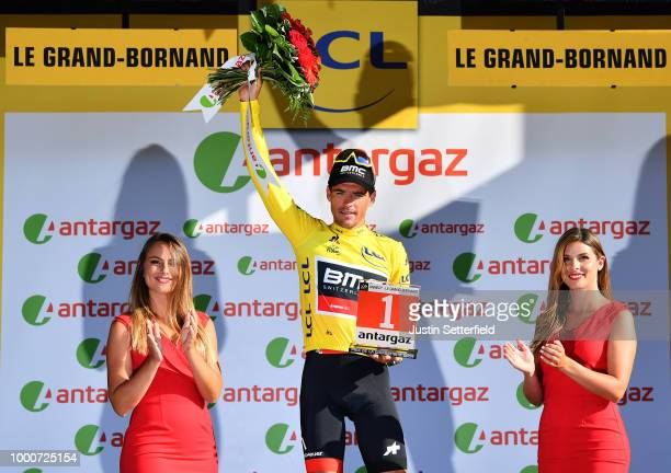 Arrival / Greg Van Avermaet of Belgium and BMC Racing Team Yellow Leader Jersey Most combative rider / Celebration / during the 105th Tour de France...
