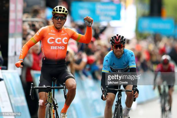 Arrival / Greg Van Avermaet of Belgium and CCC Team / Celebration / Christopher Lawless of United Kingdom and Team INEOS Blue Leader Jersey / Eddie...