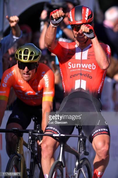 Arrival / Greg Van Avermaet of Belgium and CCC Team / Michael Matthews of Australia and Team Sunweb Celebration / during the 10th Grand Prix Cycliste...