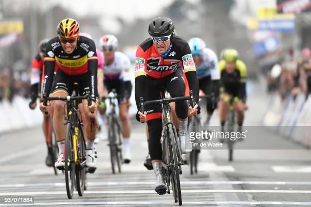 Arrival / Greg Van Avermaet of Belgium and Team BMC Racing Team / Oliver Naesen of Belgium and Team AG2R La Mondiale / during the 61st E3 Harelbeke...